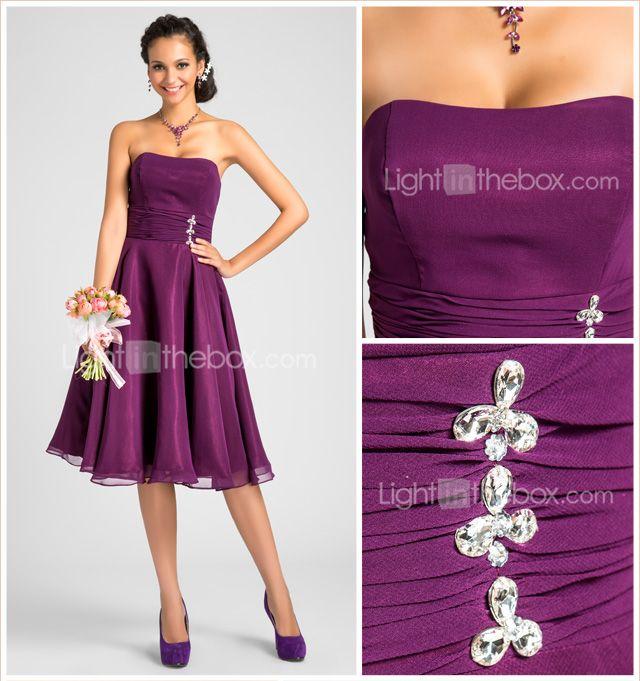 Knee Length Chiffon A Line Strapless Dress