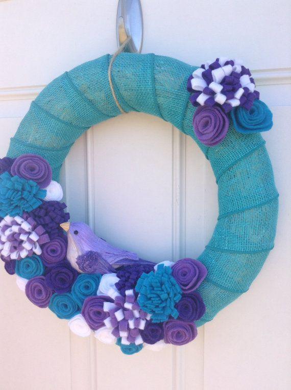 Summer Wreath - Spring Wreath - Felt Flowers Wreath - Burlap Wrapped Wreath - Bird Wreath turquoise on Etsy, $45.00