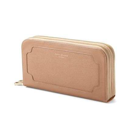Marylebone Double Zip Purse in Deer Saffiano
