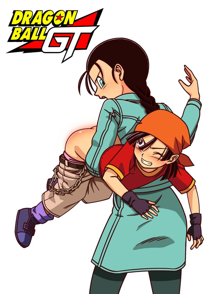 2girls age_difference ass bandanna belt black_hair blush braid chains clenched_teeth copyright_name dragon_ball dragon_ball_gt dragonball_z fingerless_gloves gloves held_up hirama_(k31820969) holding loli long_hair looking_back multiple_girls open_mouth pan_(dragon_ball) panties pants_down punishment shiny shiny_skin spanking standing teeth underwear videl