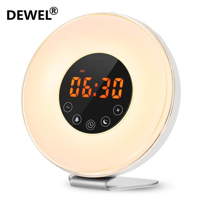 Dewel Led Digital Alarm Clock Sunrise Wake Up Light Simulation
