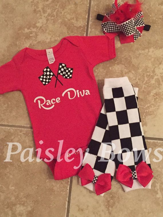 Race Diva racing baby onesie Nascar onesie racing by PaisleyBows