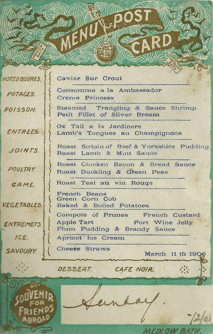 Menu - Medlow Bath Hydro- 1905/06 - vintage postcard from The Blue Mountains NSW