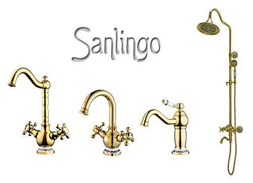 Serie BELE Retro Bad Waschbecken Waschtisch Hohe Einhebel Armatur  Wasserhahn Gold Sanlingo Keramikgriff