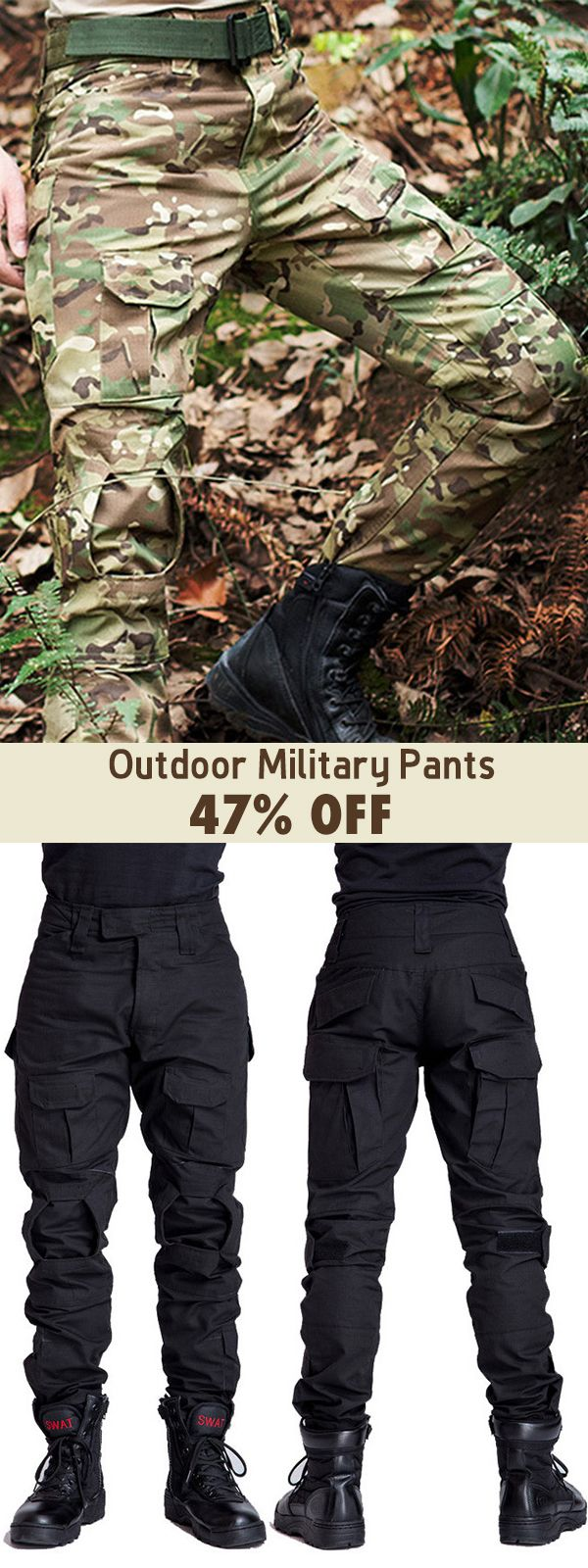 Mens Outdoor Military Tactical pants Camo Printing Breathable Wear-resistant Cas… – lian manson