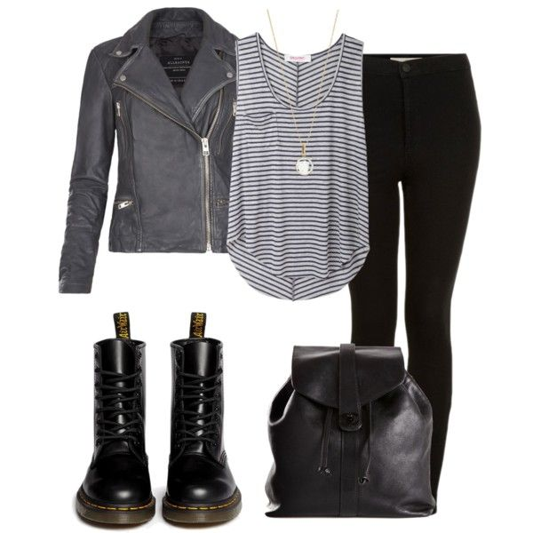 Damon inspired outfit with grey leather jacket and doc martins by kit-kat227 on Polyvore featuring Organic by John Patrick, AllSaints, Topshop, Dr. Martens, Chanel and Accessorize