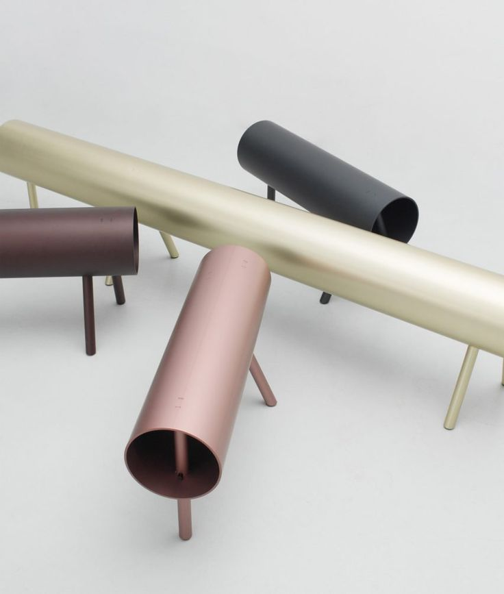 OS & OOShas created a range of furniture based on the structure of a rack used to support wood cutting, with each piece made fromaluminium pipes.