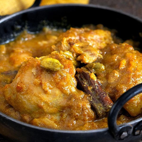 From the book Curry Easy by Madhur Jaffrey, this simple to make chicken curry has the addition of delectable cardamom. Best served with basmati rice.