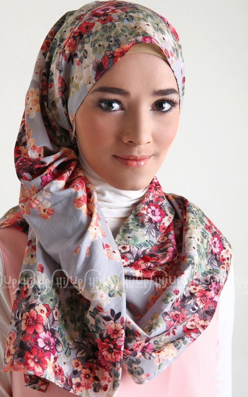 Colorful Scarf by Miss Marina. It's sooo flowery! www.hijup.com