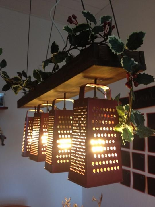 8. Suspended lamp made out of recycled graters