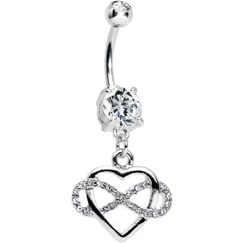 Clear Double CZ Infinite Love Infinity Heart Dangle Belly Ring | Body Candy Body Jewelry #bodycandy