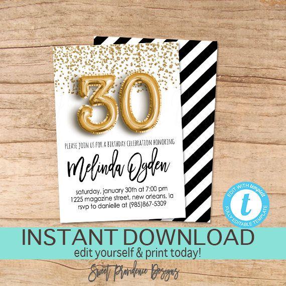 30th Birthday Invitation Editable Dirty 30 Black Gold Glitter