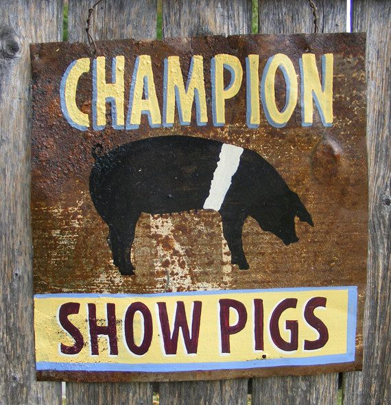 Antique Rusty metal Hampshire Pig sign by ZietlowsCustomSigns, $30.00