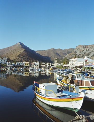 Greece: Crete, Elounda - village port and mountains