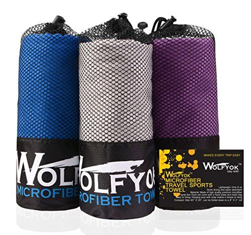 Camping Towels - 2 Pack Microfiber Travel Sports Towel  Wolfyok XL Ultra Absorbent and Quick Drying Swimming Towel Set 58 X 30 with Hand Towel 14 X137 for Sports Backpacking Beach Yoga or Bath -- Click image for more details.