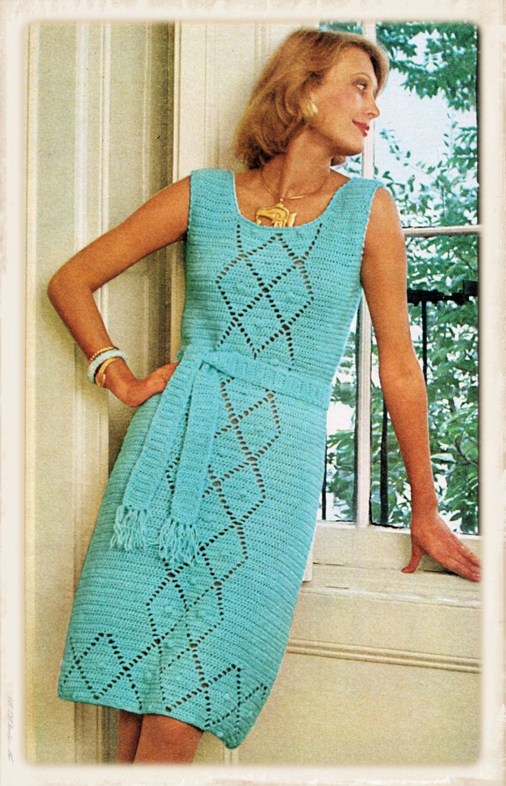 Instant Download PDF Seventies Crochet Pattern to make a Sleeveless Shift Dress Knee Length Slim Fit in 2 Sizes up to 36 inch Bust         June 23, 2015 at 05:38AM