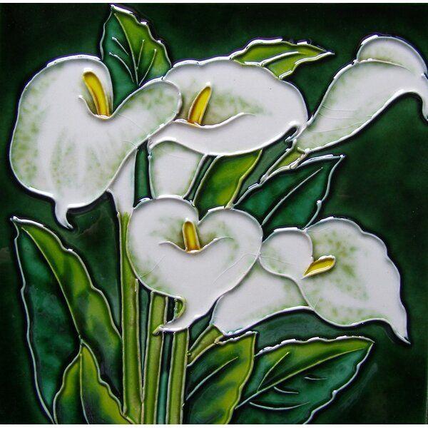 8 X 8 Ceramic White Callas Lily Decorative Mural Tile Painting Tile Art Art