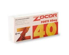 Ilustrační obrázek léčiva Zocor Forte 40 mg. Příbalový leták naleznete na http://www.pribalovy-letak.cz/485-zocor-forte-40-mg.