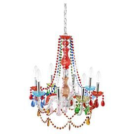 "Cast a stylish glow over your decor with this eye-catching chandelier, featuring a multicolor finish and prism-cut drop accents.  Product: ChandelierConstruction Material: Acrylic and metalColor: Chrome and multiFeatures:  Prism-cut drop accentsAdjustable chain63"" Cord length Accommodates: (8) 40 Watt bulbs - not includedDimensions: 22.5"" H x 21"" Diameter"