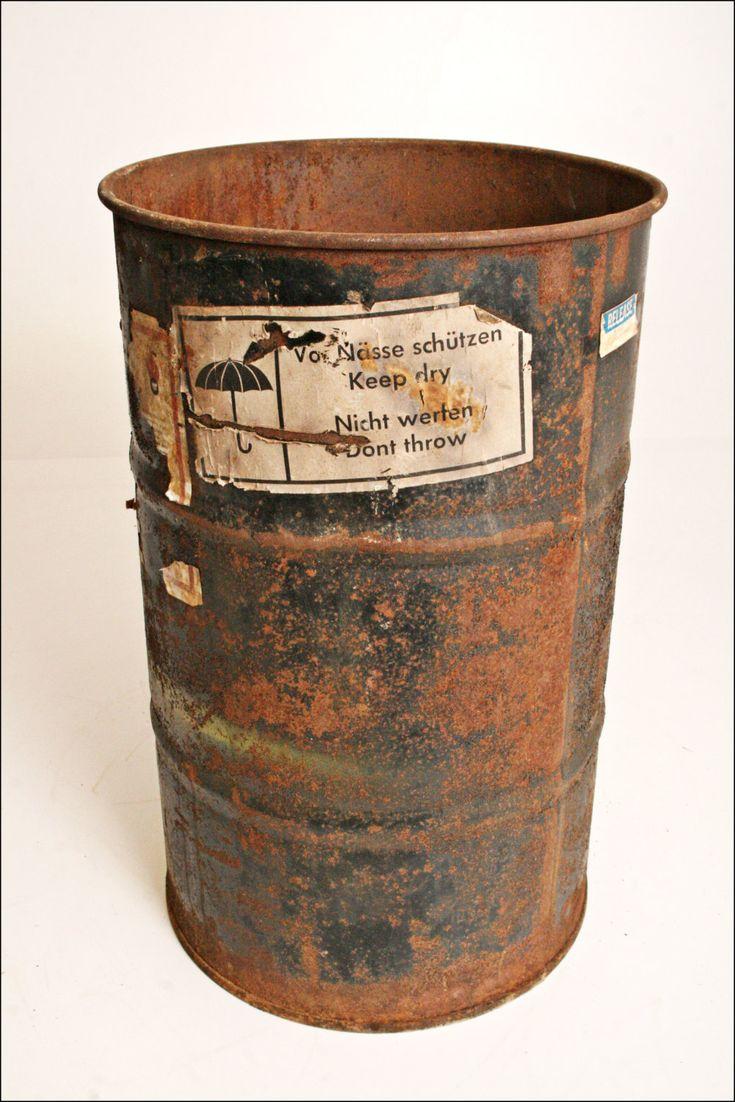 Vtg Metal Barrel Trash Can Waste Bin Green Oil Drum Steampunk Steel