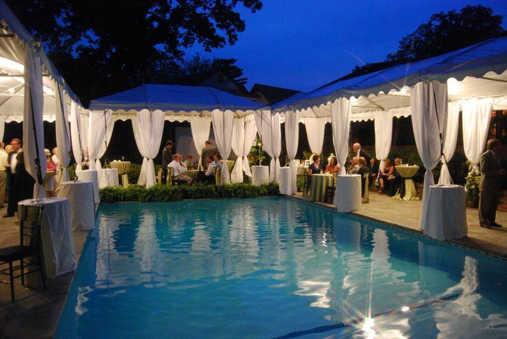 Poolside reception tents wedding lounge ideas for Garden pool wedding