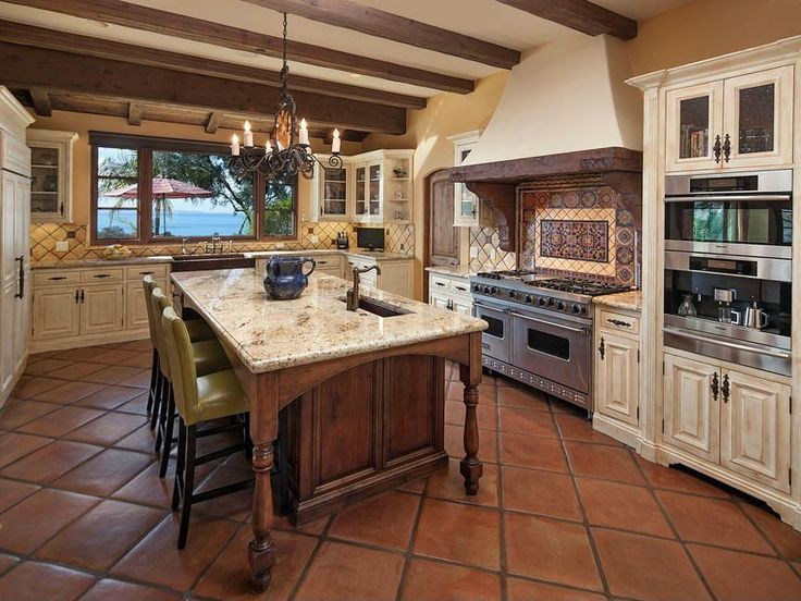 Traditional Kitchen With Farmhouse Sink Specialty Door Raised Panel Terracotta Tile Floors
