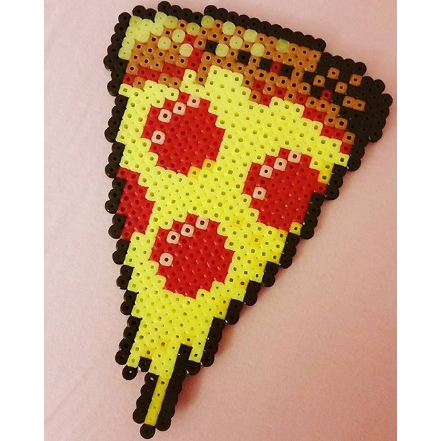 Pizza slice hama beads by perlerbeadsbybasterd