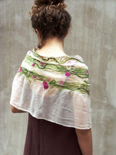 Virágindák romantikus nuno nemez sál, Hera, meska.hu #romantic #felt #scarf