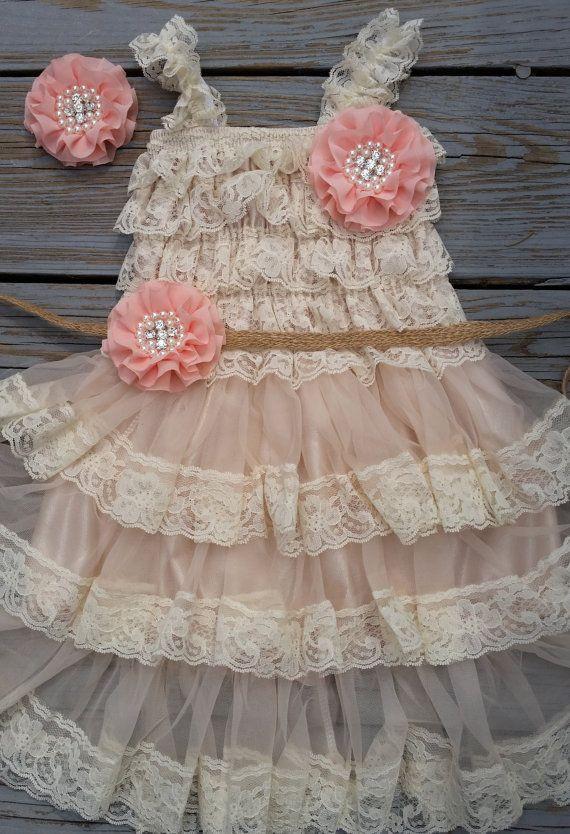 Country Flower Girl Dress/Rustic Flower Girl Outfit/Wheat Cream Flowergirl/Country Wedding-Peach-Salmon Flower Girl Dress-Shabby Chic Dress