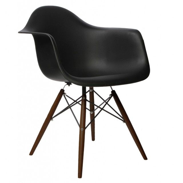 Daw Molded Black Plastic Dining Armchair With Dark Walnut Wood