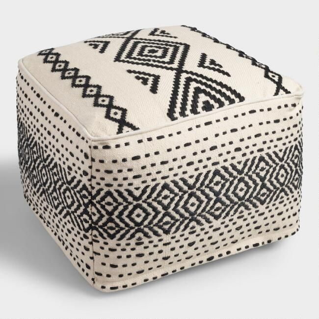 Black and White Kilim Indoor Outdoor Pouf - v1