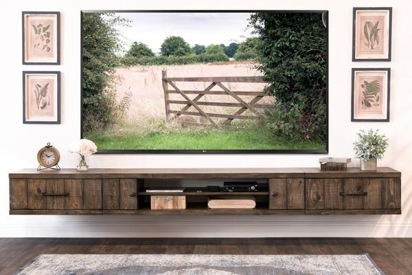 Architecture Farmhouse Rustic Wood Floating TV Stand Entertainment Center Intended For Wall Mounted Shelves Inspirations 6 Mexican Sconces Upholstered Daybeds With Trundle Murphy Beds Portland Folding Screen Room Divider Ikea Where Can I Buy A