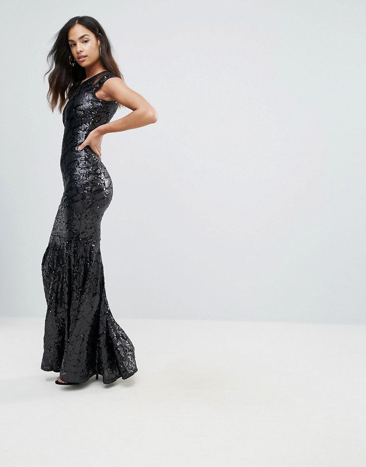 Club L Mesh Insert Sequin Maxi Dress - Black