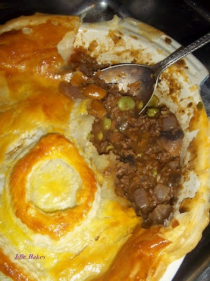 easy Beef & Butternut Squash Pie with ready made puff pastry