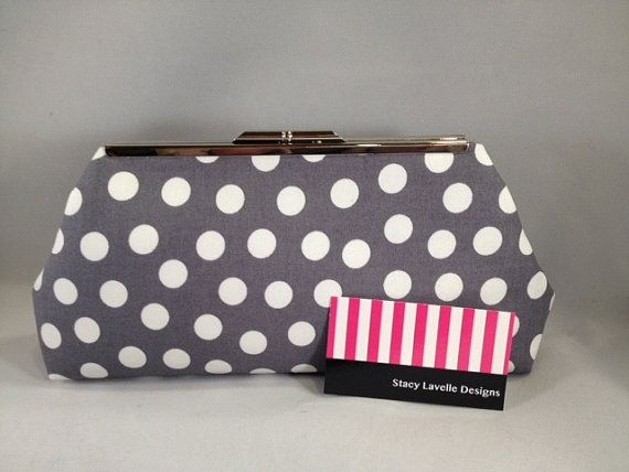 Grey and White Polka Dot Clutch Purse with by StacyLavelleDesign.  A perfect gift for a bridesmaid, mother of the bride or mother of the groom.