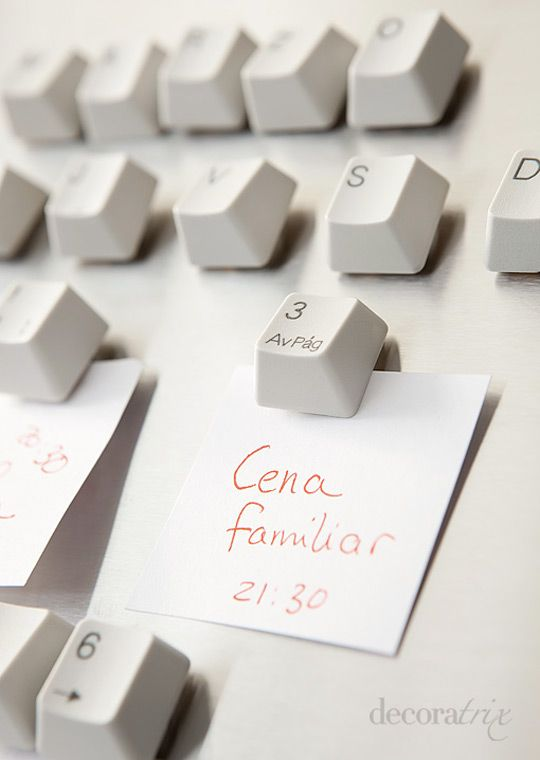 Refrigerator magnets out of keyboard keys (upcycle)