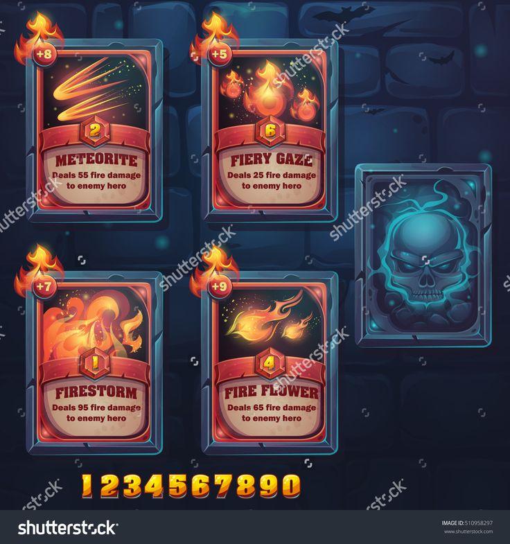 Set Spell Cards Of Meteorite, Fiery Gaze, Firestorm, Fire Flowes. For Web, Video Games, User Interface, Design Стоковая векторная иллюстрация 510958297 : Shutterstock