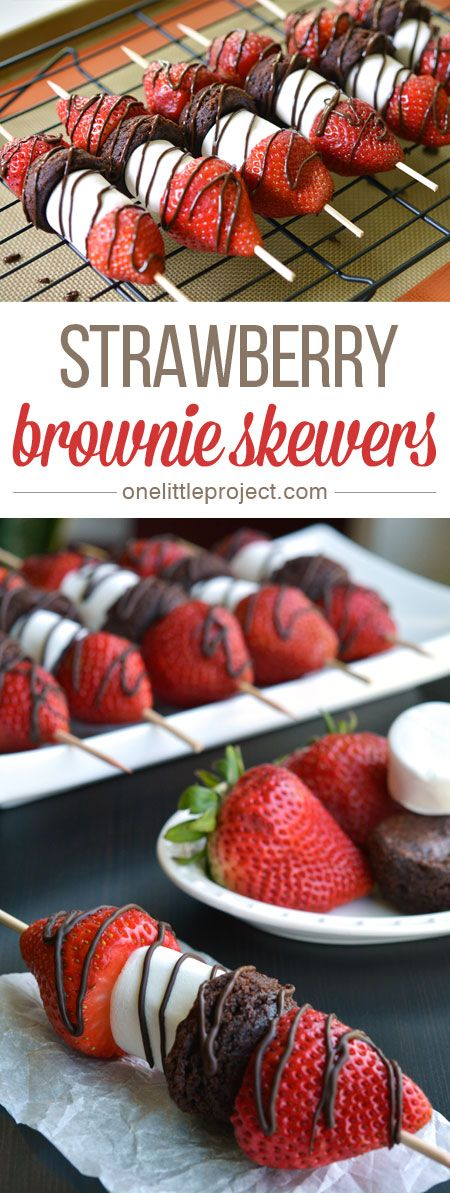 These strawberry brownie skewers are a GREAT single serving dessert! Make them for a summer barbecue or picnic, or even just as an easy weeknight dessert! #Barbecue_Recipes #Barbecue_Chicken_Recipe #Best_Recipes