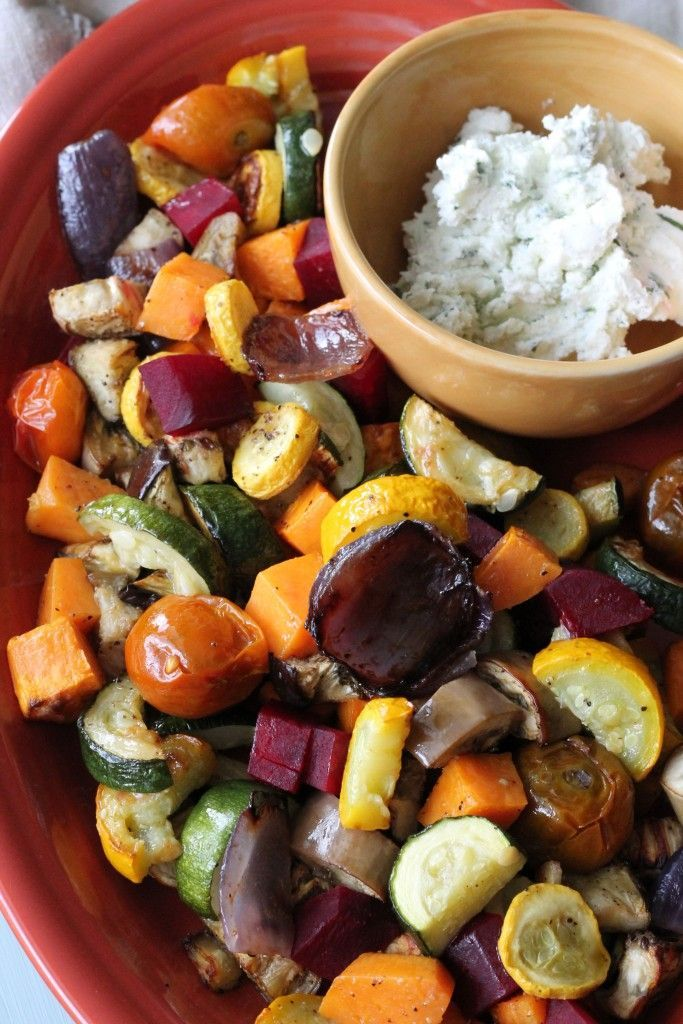 Roasted Vegetable Salad with Whipped Herb Goat Cheese