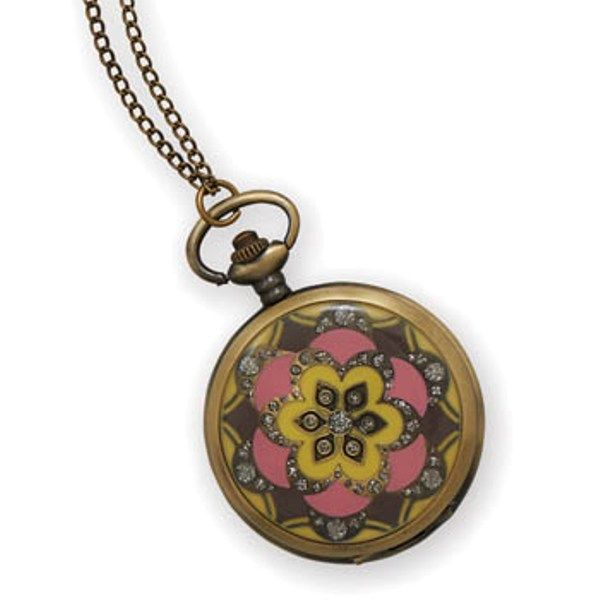 "31"" Pink and Yellow Fashion Necklace Watch - W9371"