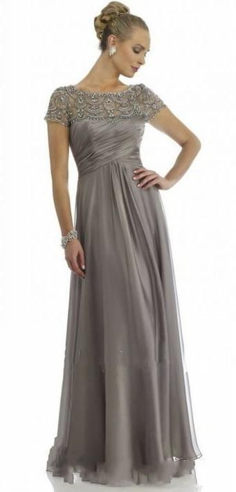 Wholesale 2015 Long Grey Mother Of The Bride Dresses Plus Size With Short Sleeve Beaded Top A Line Chiffon Formal Wedding Party Dress Mum Evening Gown, Free shipping, $86.5/Piece | DHgate Mobile