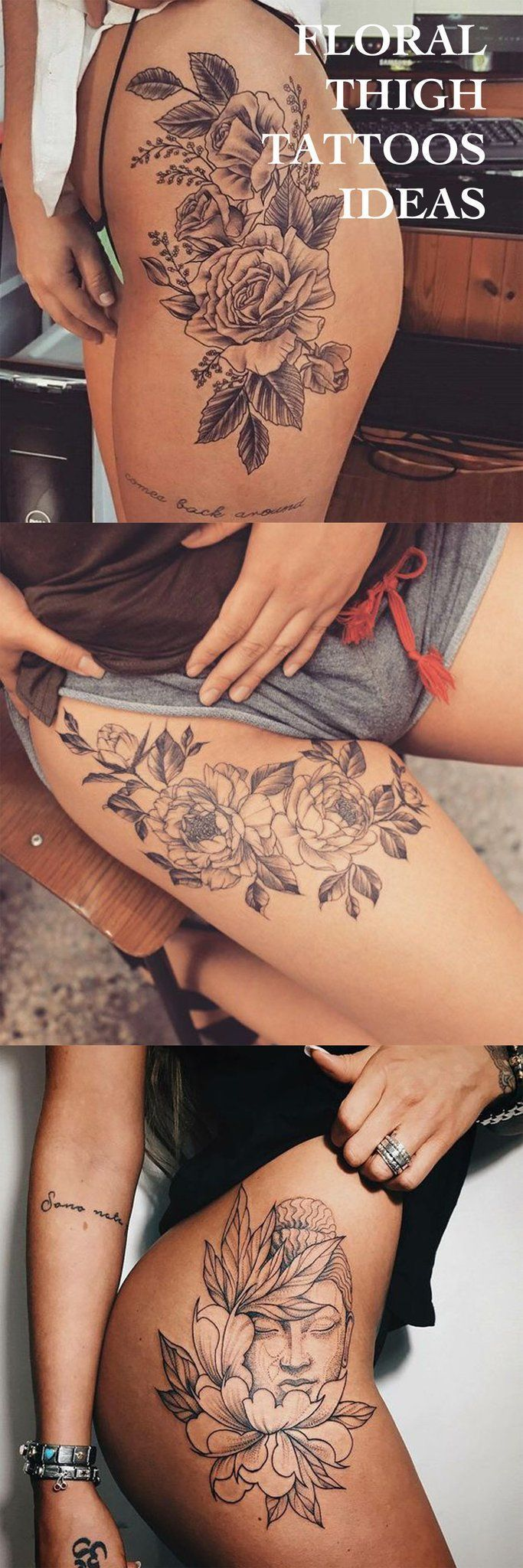 Floral Thigh Tattoo Ideas at MyBodiArt.com - Flower Buddha Black and White Tat #ad