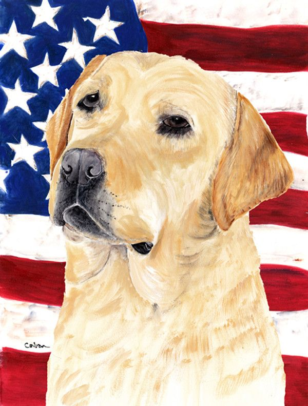 USA American Flag with Labrador Flag Canvas House Size
