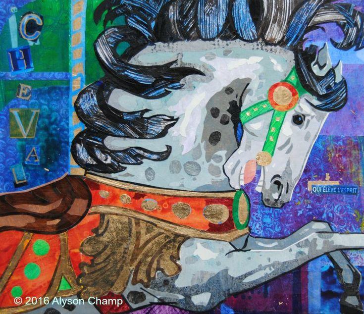 'Le Cheval qui élève l'esprit' 12x14 collage on panel by Alyson Champ.