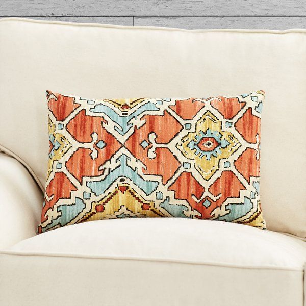 Inspired by exotic destinations and eclectic bohemian style, this charismatic pillow brings a pop of panache to your living room sofa or guest bed. Showcasing a Southwestern-inspired motif, this lumbar pillow goes perfectly with your boldly decorated boho loft.