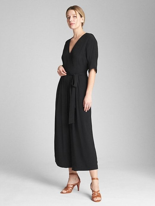 179907e31ba4 Gap Womens Short Sleeve V-Neck Jumpsuit True Black