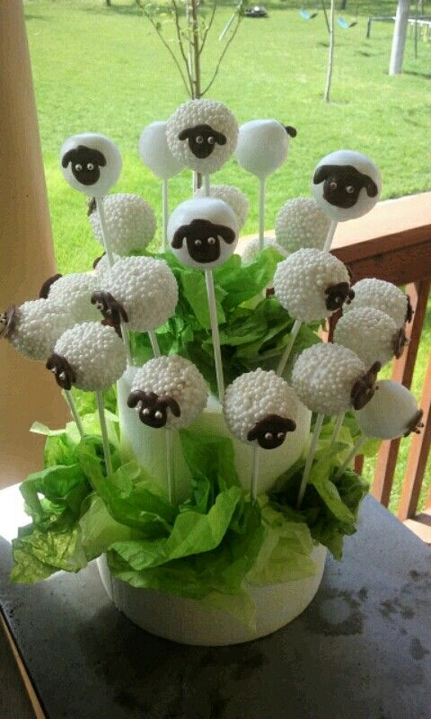 Sheep cake pops!  May 10,2016