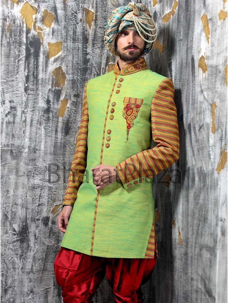 Pakistani Indian Afghani Raw Silk Party Wear & Wedding Indo Western Sherwani
