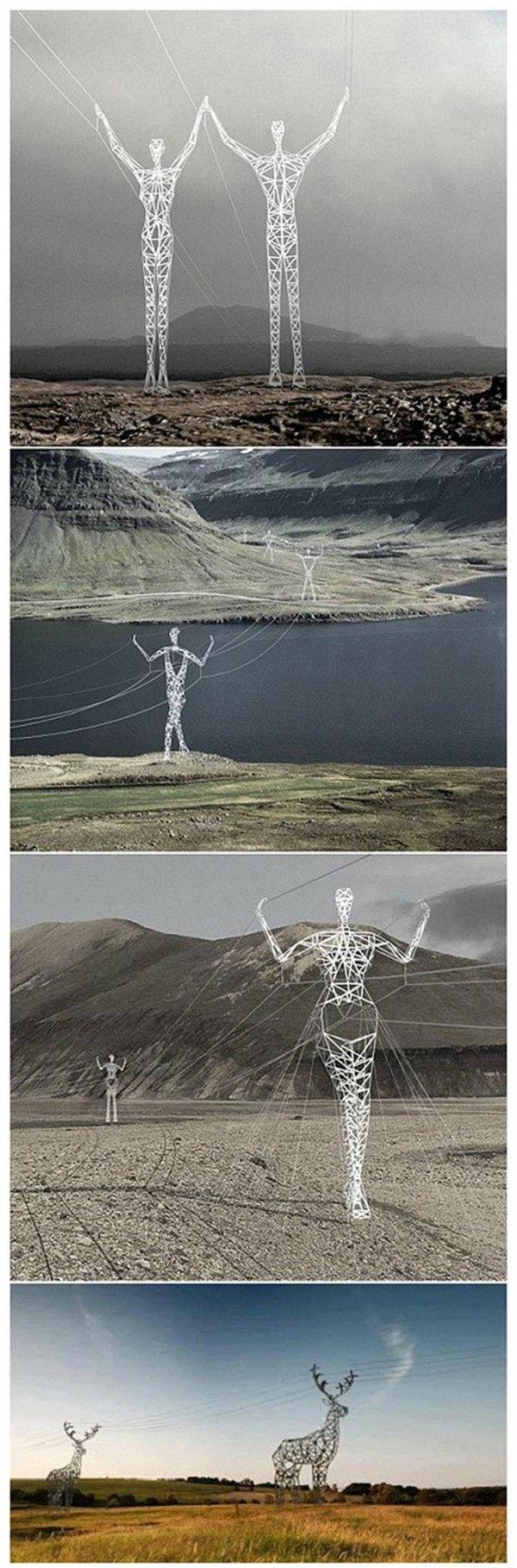 Isländische Designer-Strommasten