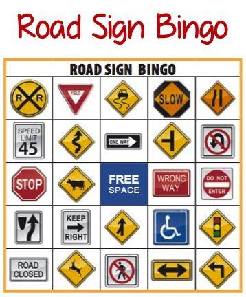 Road Sign Bingo: FREEBIE Download #family #Travel | Road ...